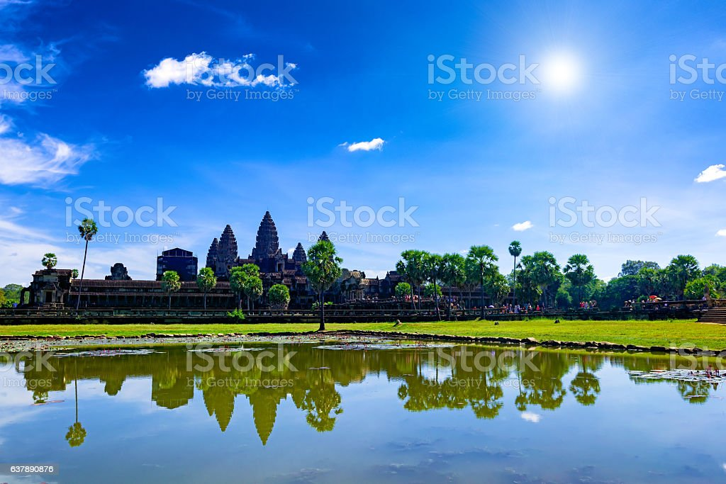 Angkor Wat seen across the lake stock photo