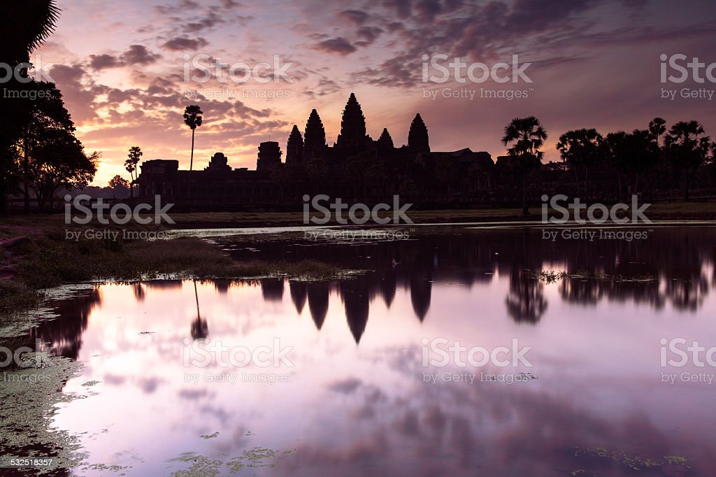Angkor Wat silhouette at sunrise royalty-free stock photo