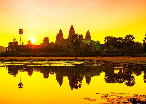 Angkor Wat Sunrise At Siem Reap Cambodia Stock Photo - Download Image Now