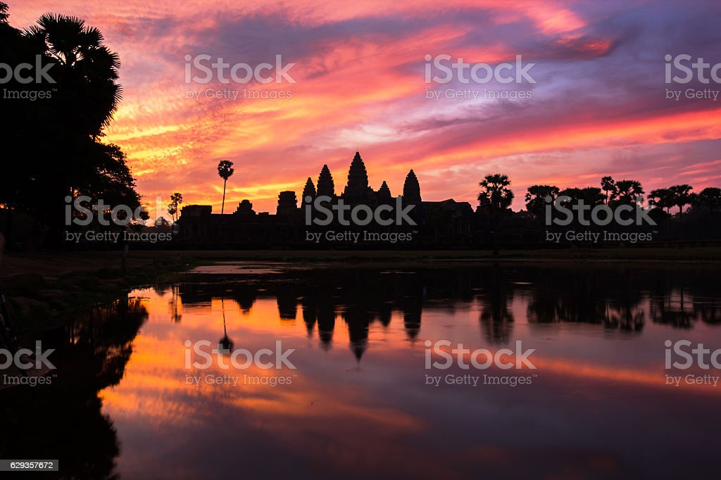 Angkor Wat temple at dramatic sunrise stock photo