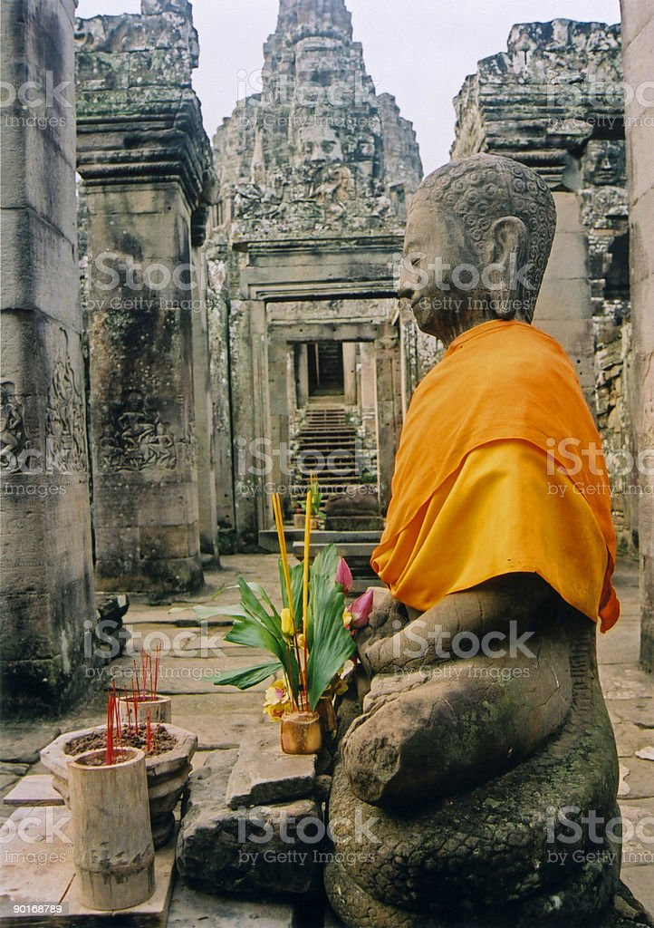 angkor wat temple buddha cambodia stock photo