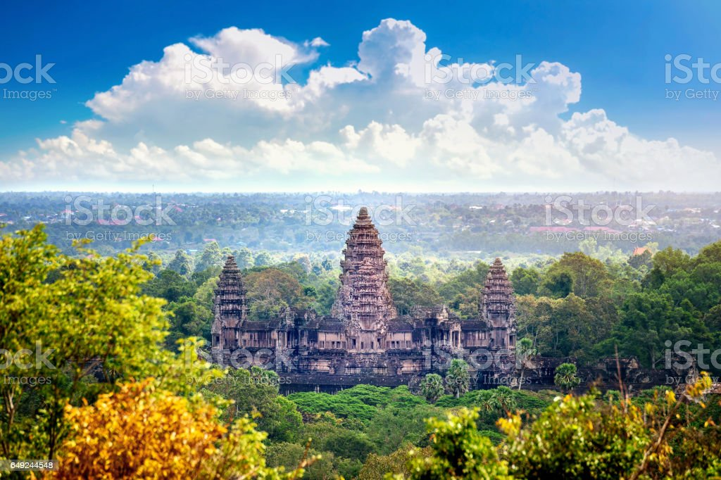 Angkor Wat Temple in Cambodia. stock photo