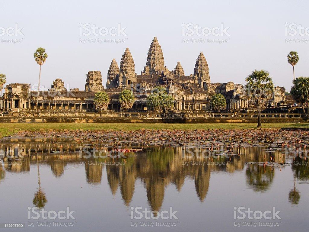 Angkor Wat temple reflected in lotus pond at sunset, Cambodia royalty-free stock photo