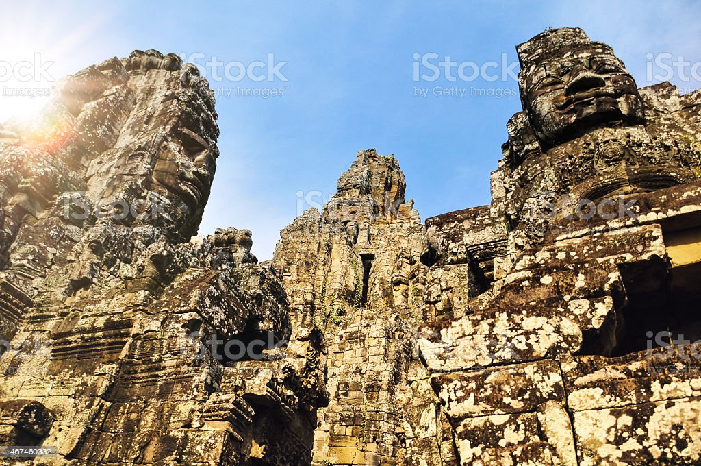 Angkor Wat temple ruins in Cambodia, protected UNESCO site stock photo