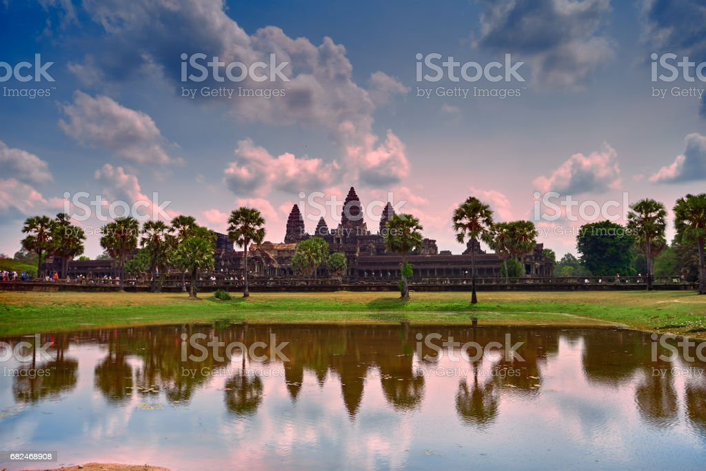 Angkor Wat temple with reflection on water, Siem Reap, Cambodia royalty-free stock photo