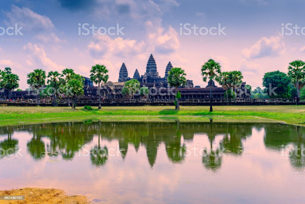 Angkor Wat with reflection on water at morning, Cambodia Lizenzfreies stock-foto