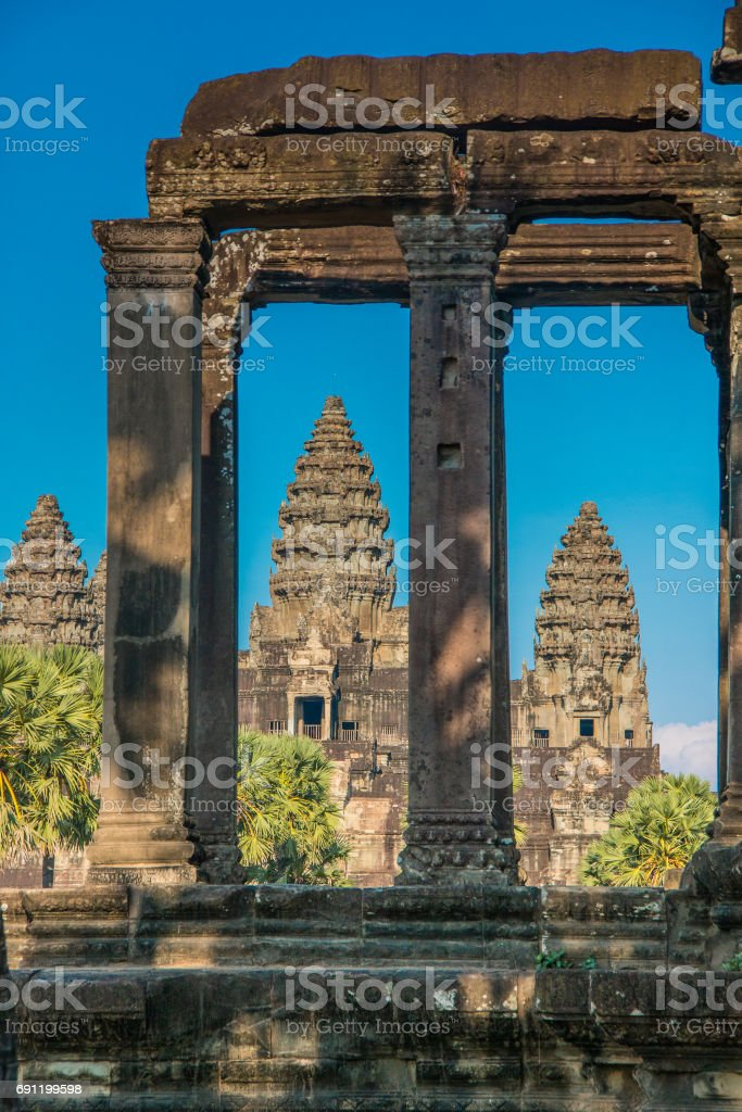Angkor Watt durchs Fenster stock photo