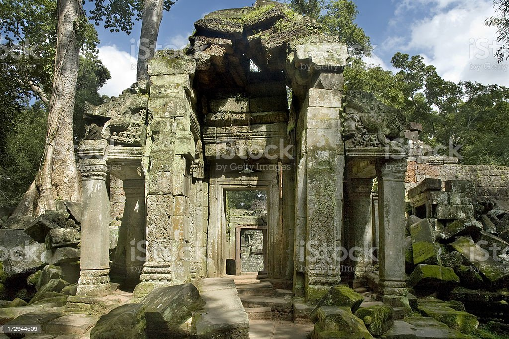 Angkorian Temple Ruins Near Angkor Wat In Cambodia royalty-free stock photo