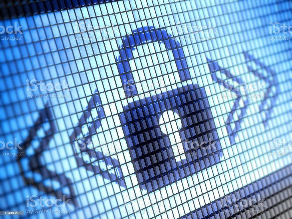 Angle shot of lock icon on blue pixel background royalty-free stock photo