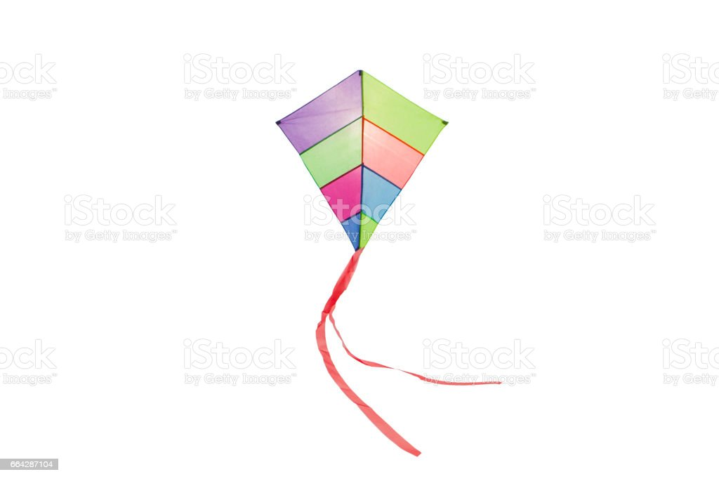 angle view of a colorful kite flying with waving red bow in a white background - foto stock