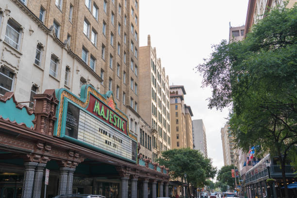 Angle View of Broadway Street in Downtown San Antonio stock photo