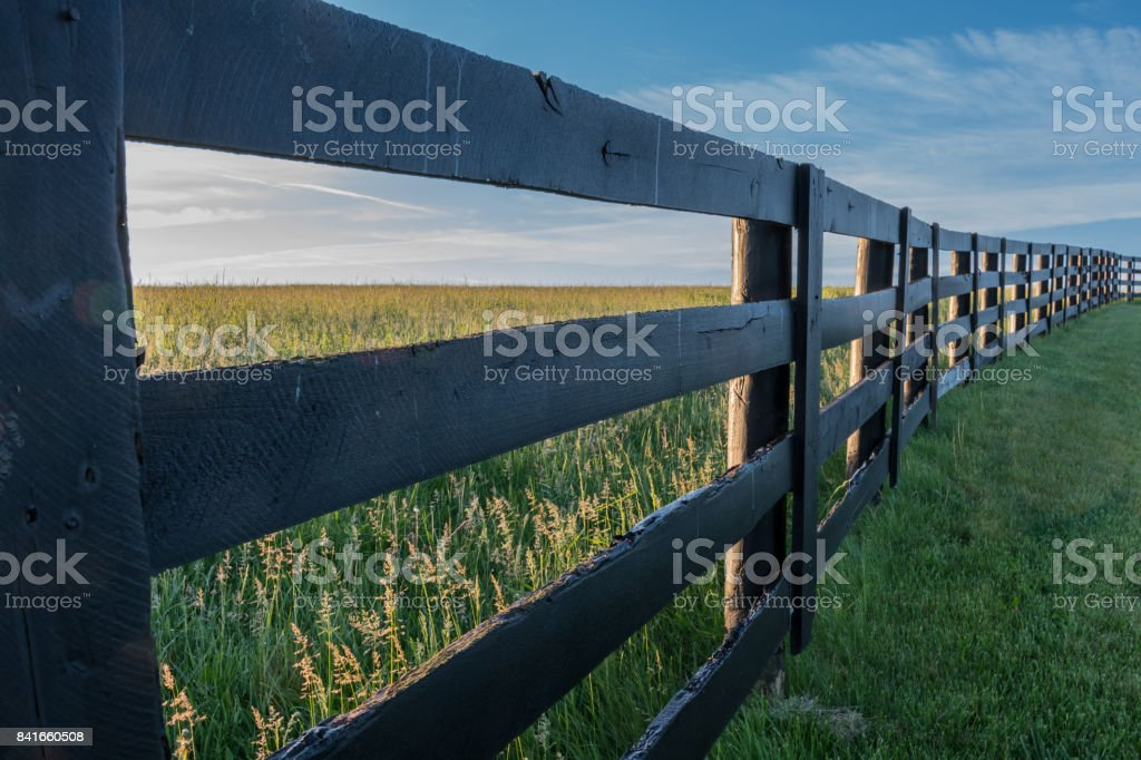 Angle View of Horse Farm Fence stock photo