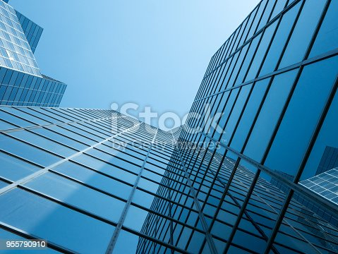 Angle view of modern building with a clear blue sky in background