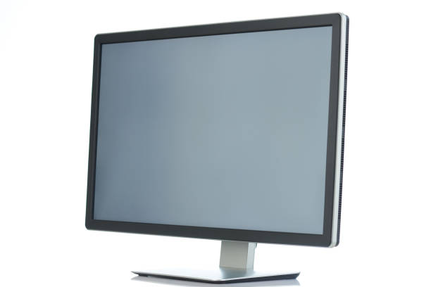 Angle view on pc monitor stock photo