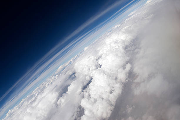 angled aerial of earth - stratosphere stock pictures, royalty-free photos & images