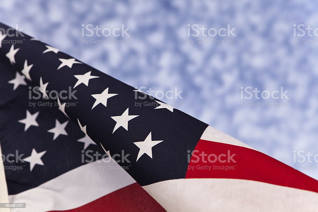 Angled American Flag stock photo
