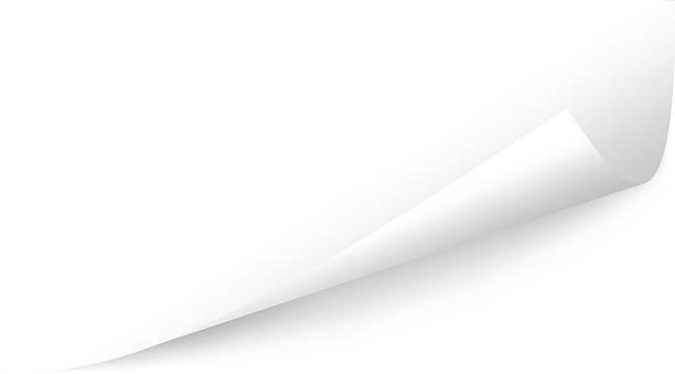 schräge unteren seite peeling, textfreiraum; drei schneidepfade - buchseite stock-fotos und bilder