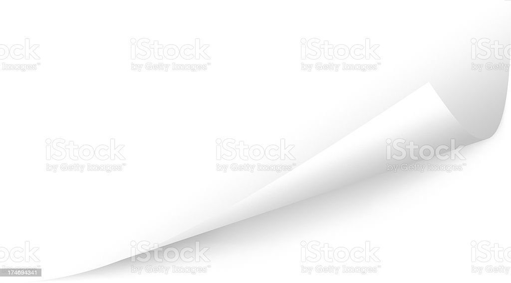 Angled Bottom Page Peel, Copy Space; Three Clipping Paths stock photo