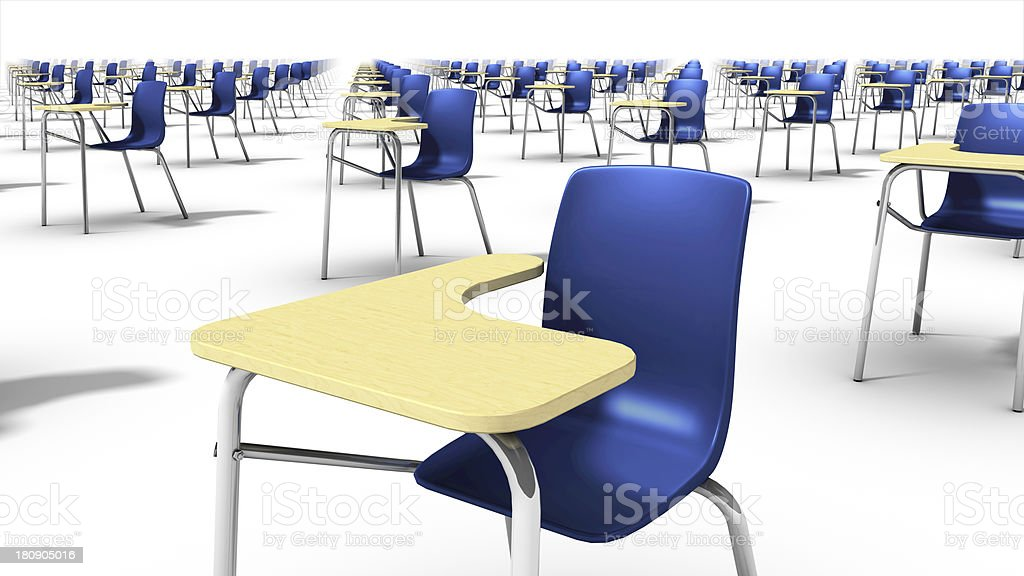 Angled close-up view of endless school chairs. stock photo