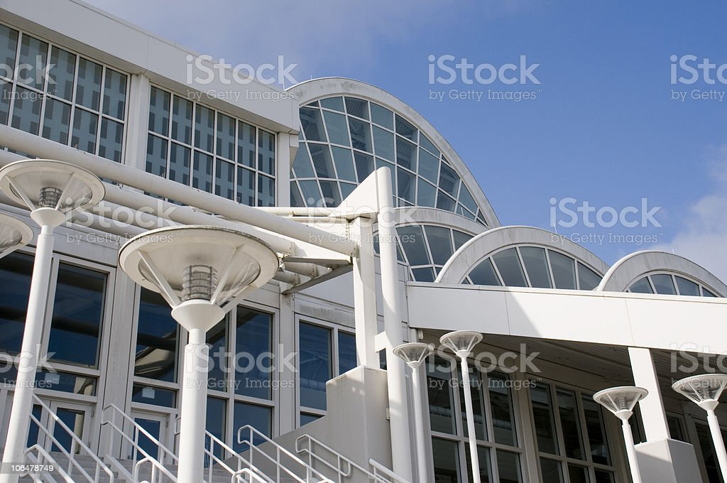 Angled exterior view of the Orange County Convention Center stock photo