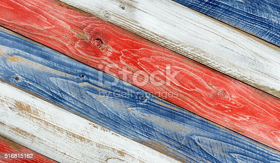 istock Angled faded boards painted in USA national colors 516815162