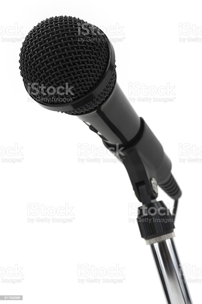 Angled Microphone on White stock photo