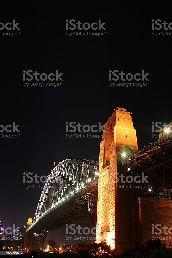 Angled nightshot of the Sydney Harbour Bridge royalty-free stock photo