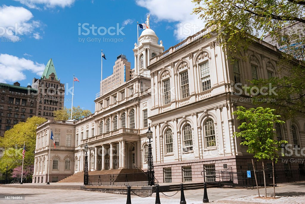 Angled photo of the front of City Hall in Manhattan stock photo