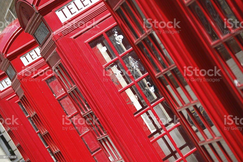 Angled Shot of English Phone Boxes royalty-free stock photo