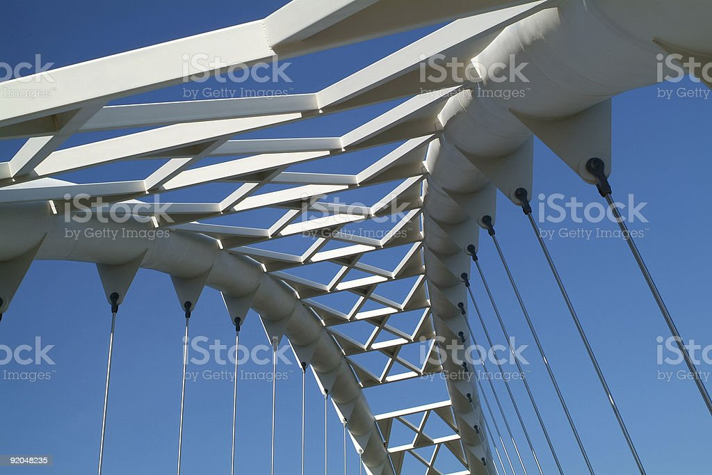 Angled view from the bottom of a sky bridge stock photo