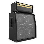 istock Angled view of a bass guitar amplifier on a white background 461907517