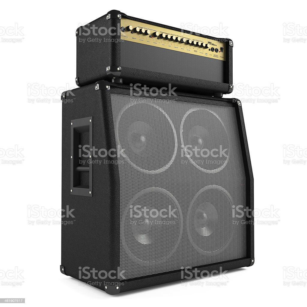 Angled view of a bass guitar amplifier on a white background stock photo