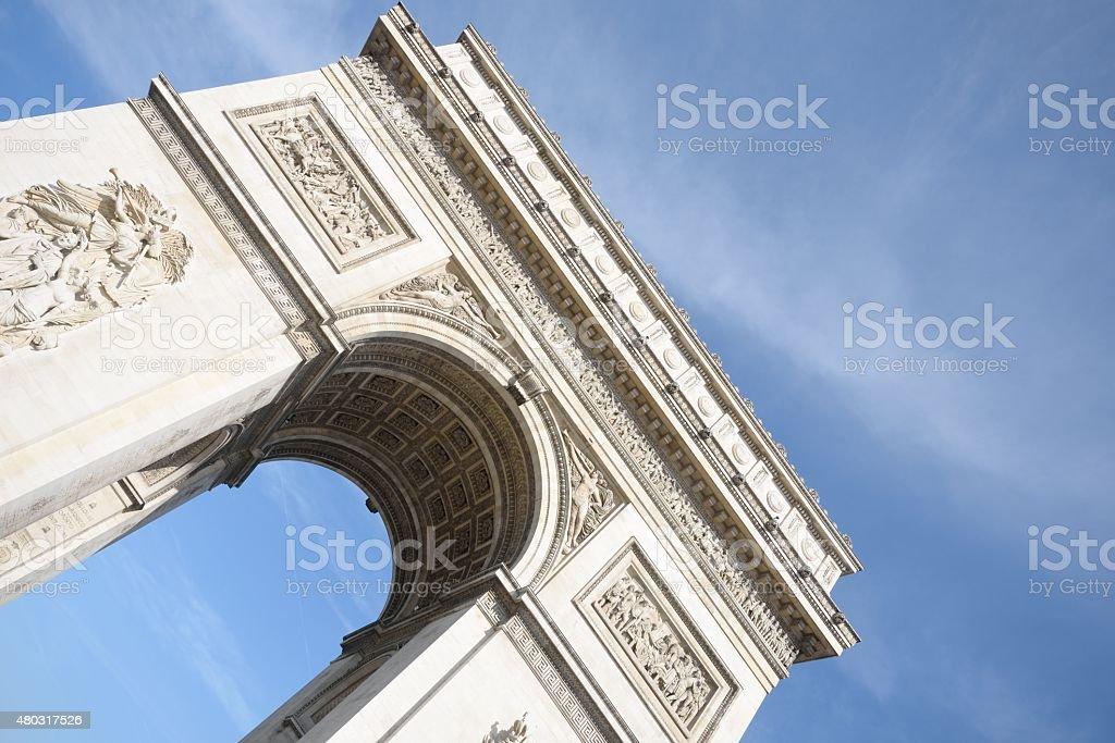 Angled view of arc de triomphe paris stock photo