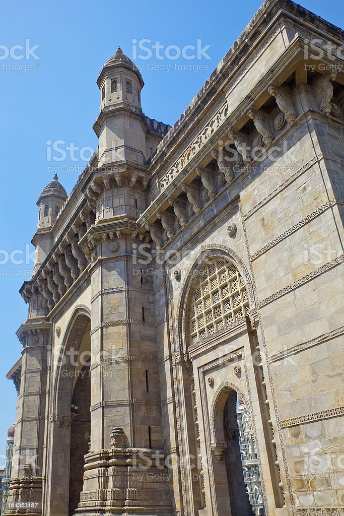 Angled view of Gateway to India stock photo