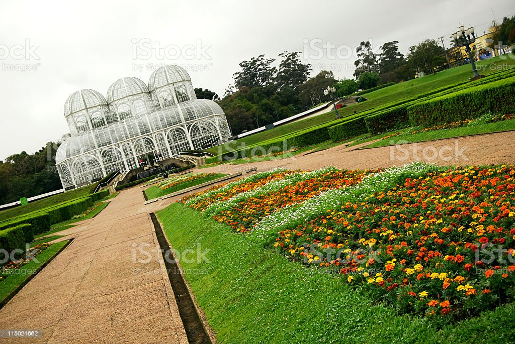 Angled view of the botanical gardens in Curitiba Brazil stock photo