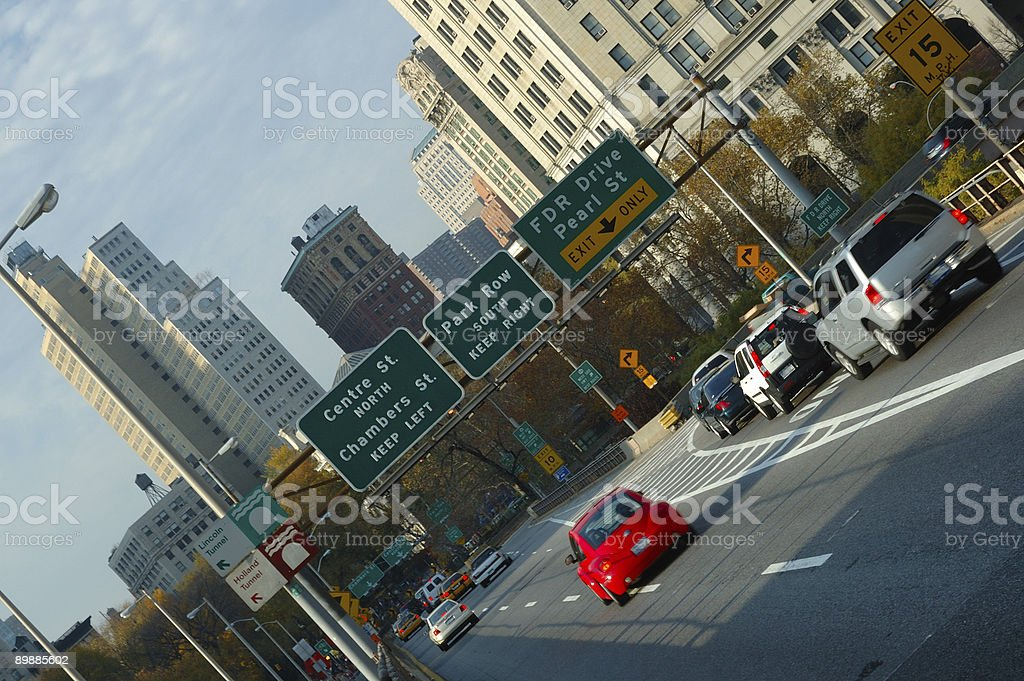 Angled view of the Brooklyn Bridge, New York City royalty-free stock photo