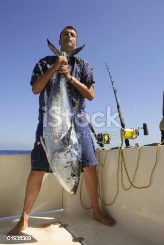 156872766 istock photo Angler fishing big game bluefin tuna on Mediterranean 104935369