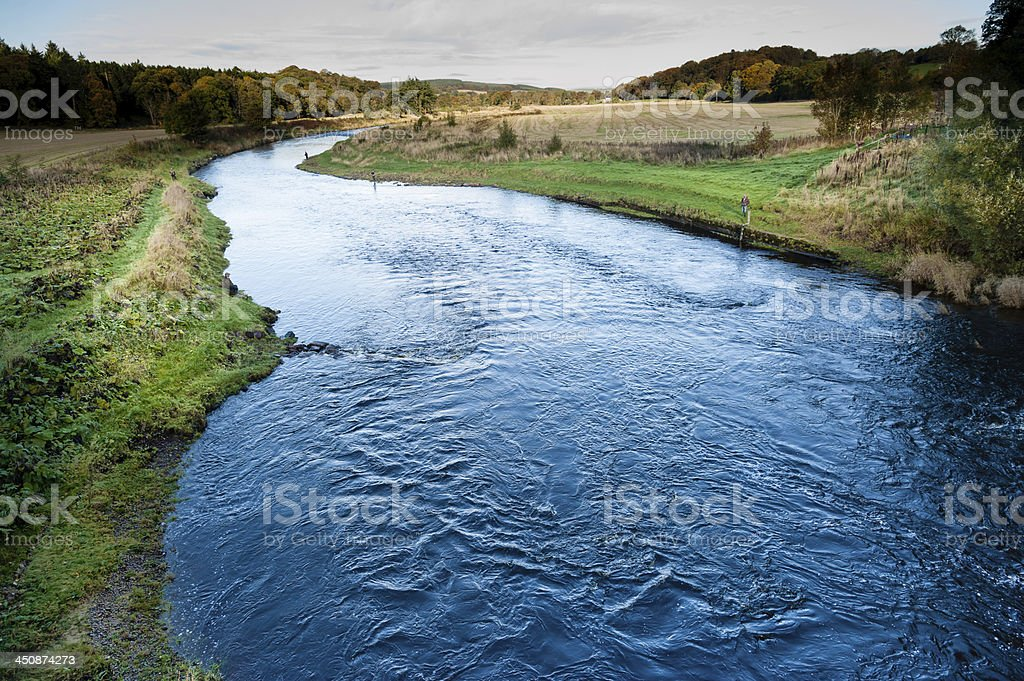 Angler fishing for Salmon on River Deveron. royalty-free stock photo
