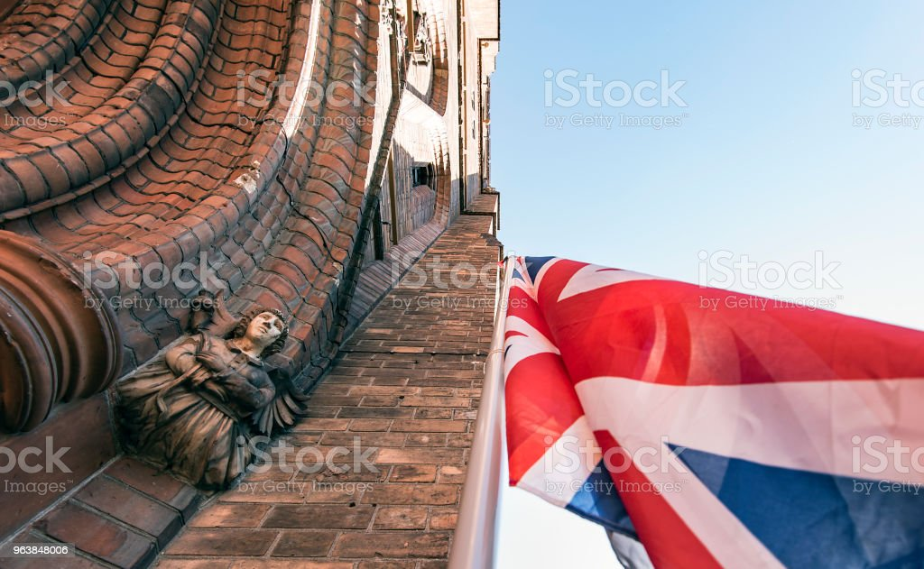 Anglican Church and UK Flag Detail of the Great Britain Church - Royalty-free Abbey - Monastery Stock Photo