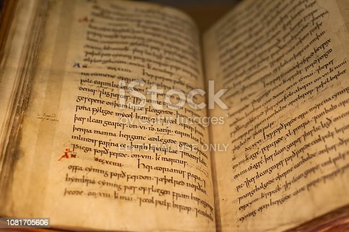 11th century copy of the Anglo-Saxon Chronicle, located in the British Library, the national library of the United Kingdom in London, UK.