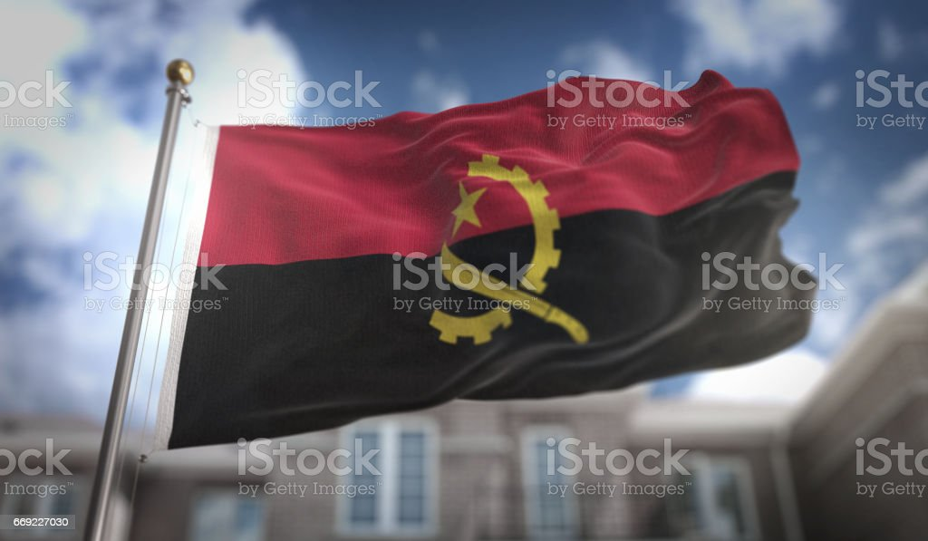 Angola Flag 3D Rendering on Blue Sky Building Background stock photo
