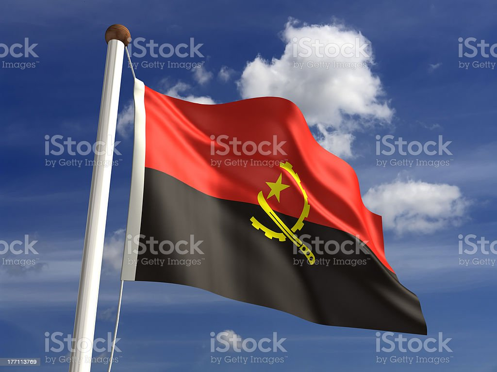 Angola flag (with clipping path) stock photo