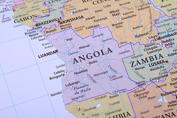 Angola on the map stock photo