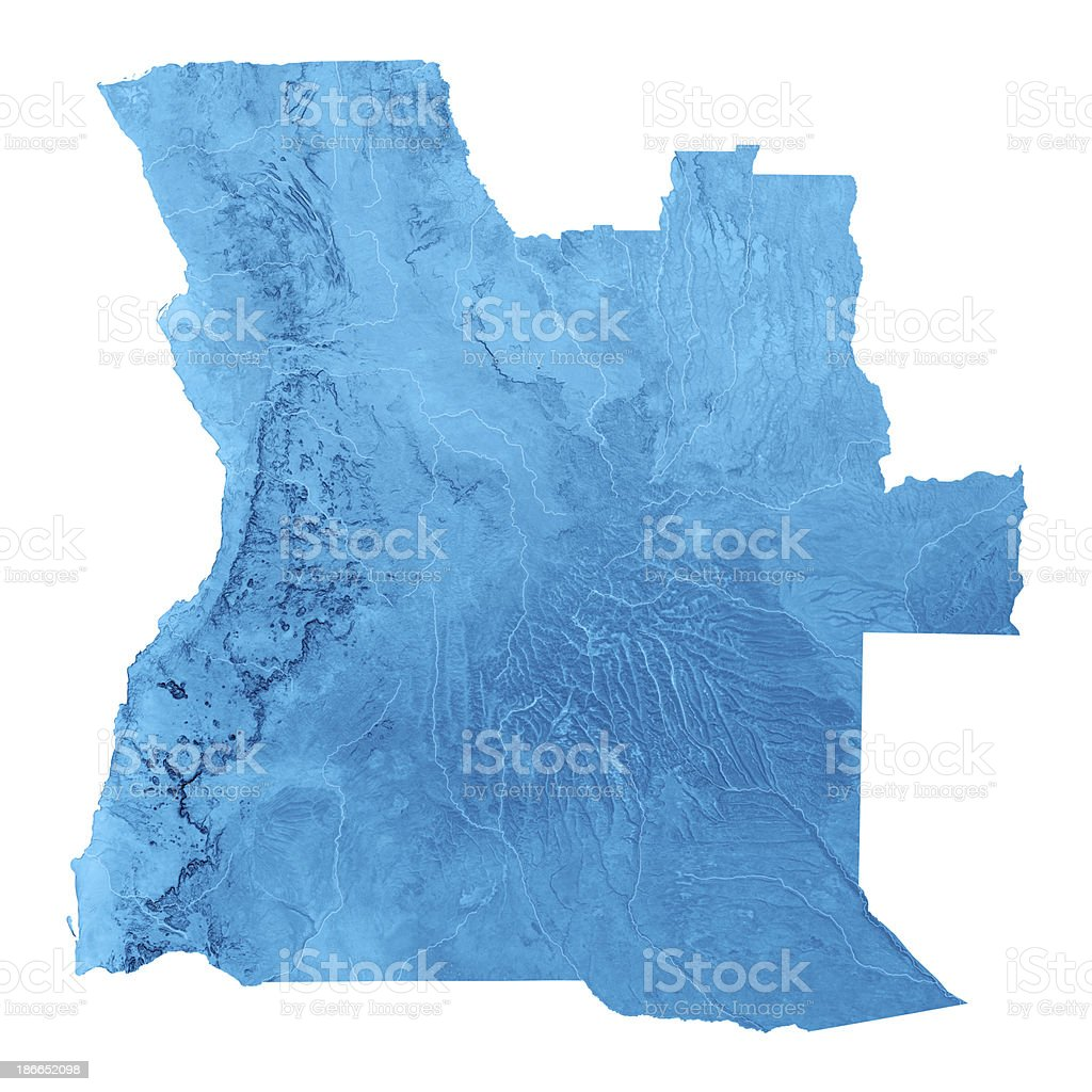 Angola Topographic Map Isolated royalty-free stock photo
