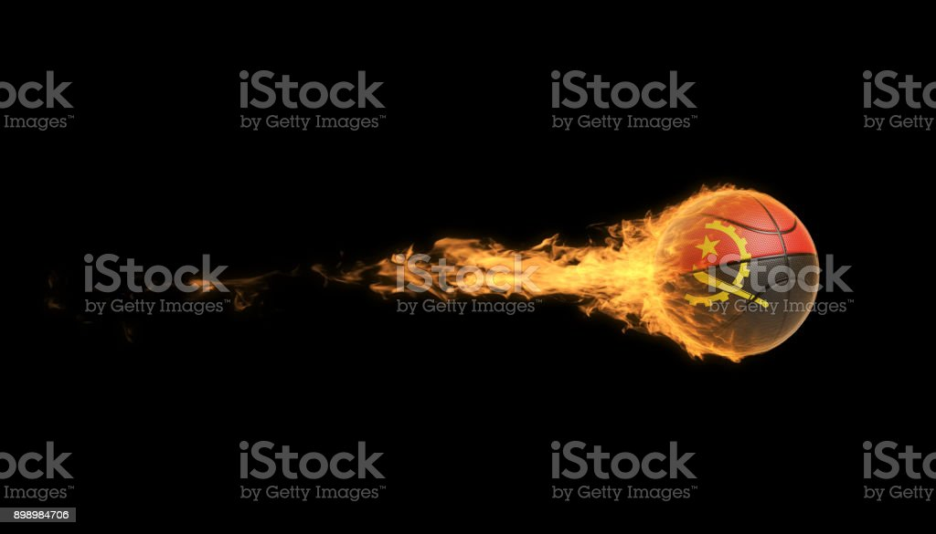 Angolan Basketball Ball In Flames Over Black Background stock photo