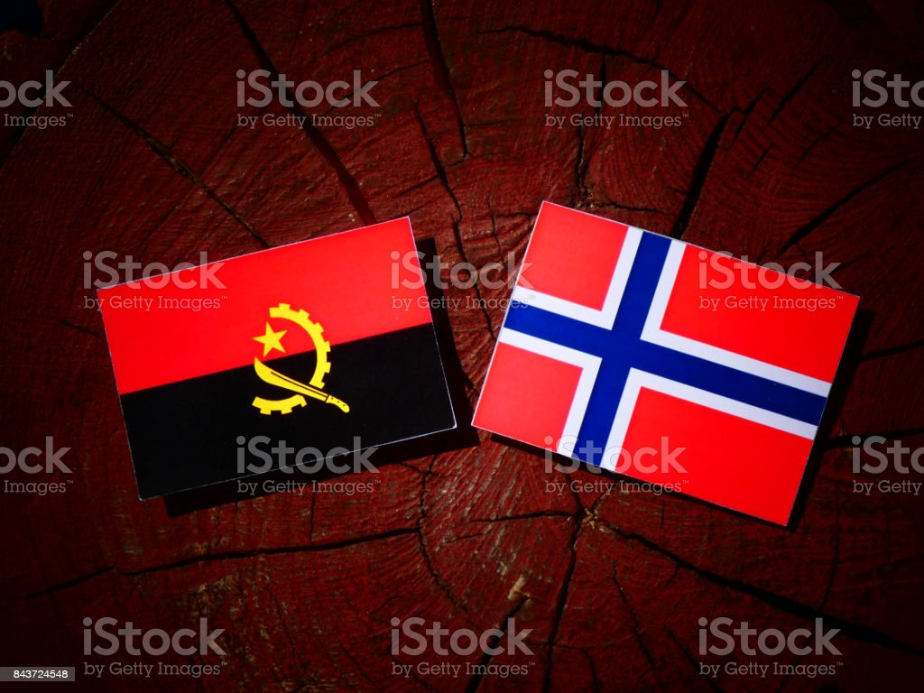 Angolan flag with Norwegian flag on a tree stump isolated stock photo