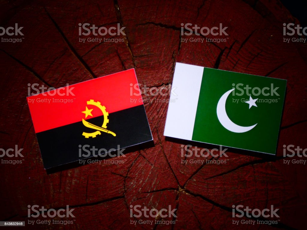 Angolan flag with Pakistan flag on a tree stump isolated stock photo