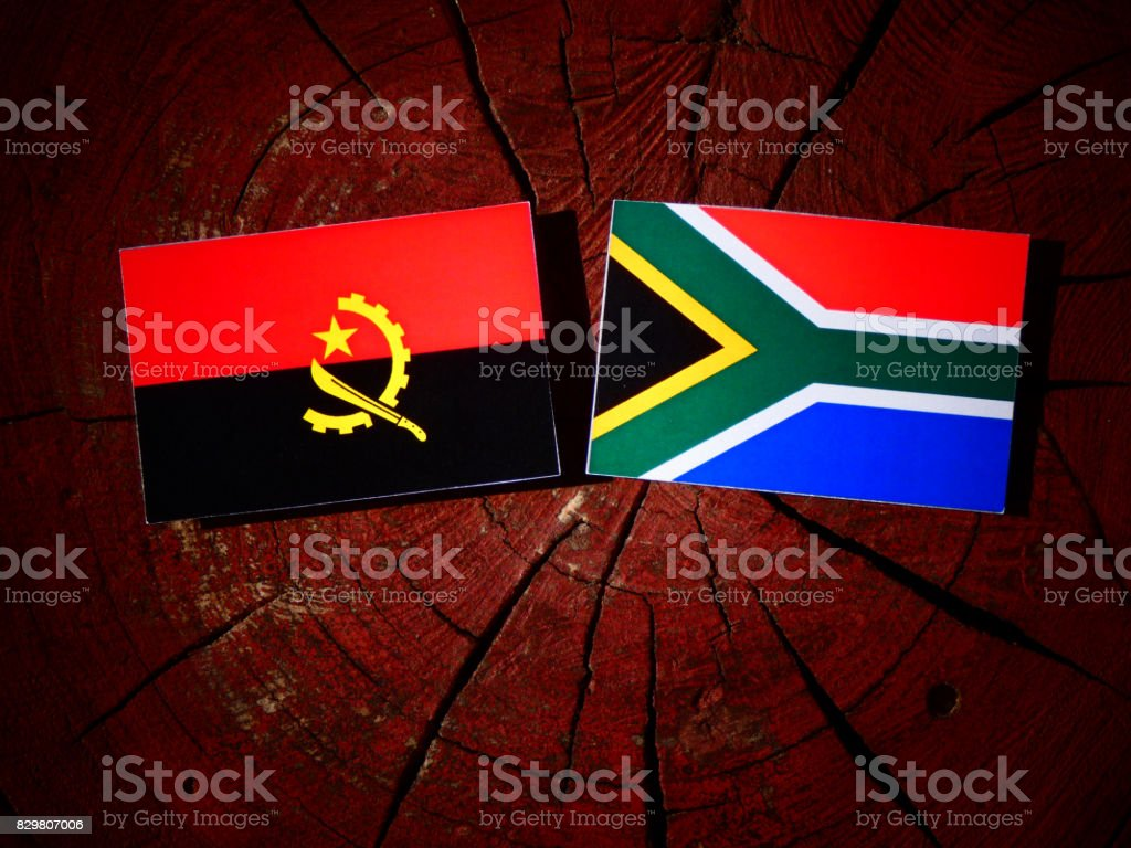 Angolan flag with South African flag on a tree stump isolated stock photo