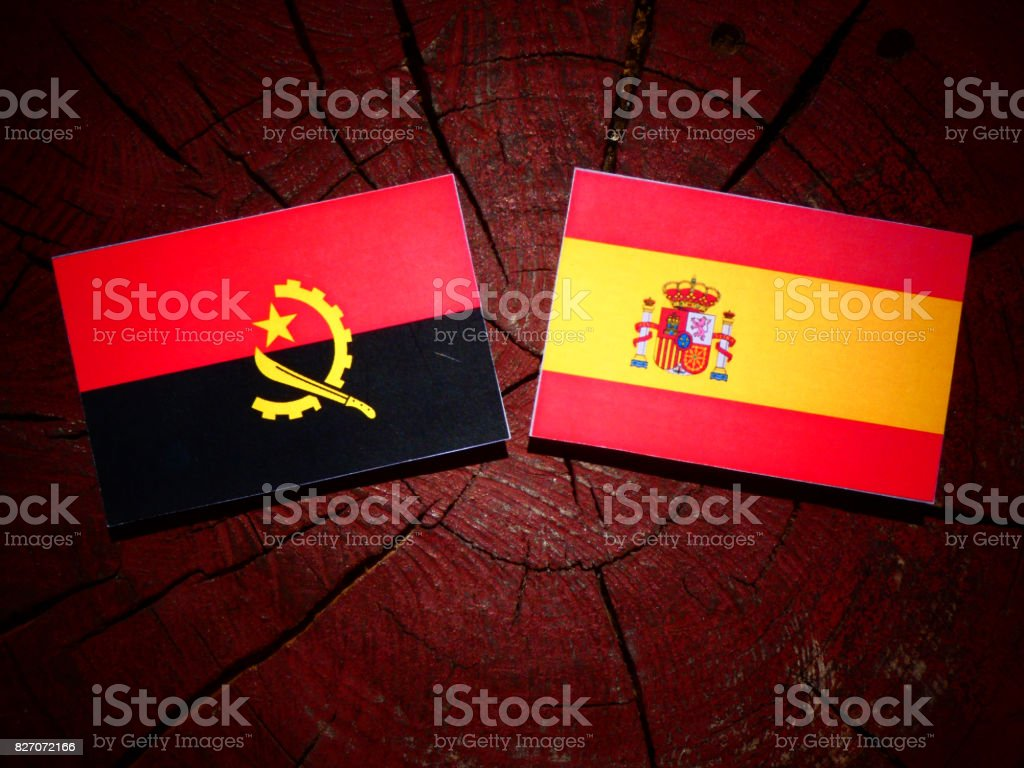 Angolan flag with Spanish flag on a tree stump isolated stock photo