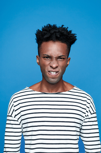 Angry Afro American Young Man Stock Photo - Download Image Now